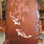 ホームページ続々更新中! ケヤキの彫刻油絵 クロガキタンス