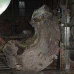 宮崎県小林市の柞木商店で屋久杉原木を製材その3