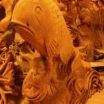 フォレスト神城文化の森ショールーム(小型店)市房杉・焼酎館の屋久杉彫刻品、鯛と恵比寿など