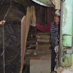 宮崎県小林市の柞木商店様にて市房山神宮のケヤキ製材 他